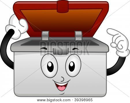 Mascot Illustration of a Pastic Container Pointing its Contents