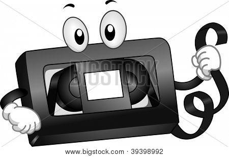Ilustração de mascote de uma fita VHS segurando uma tira de fita magnética