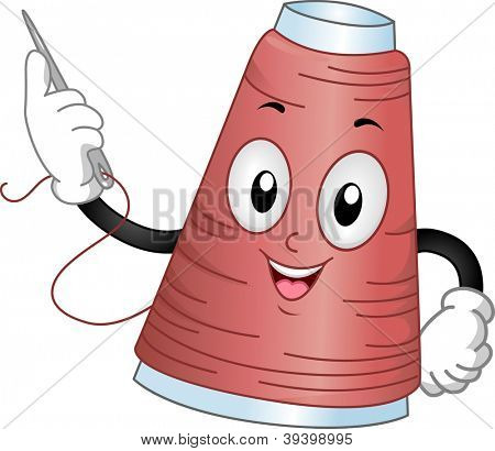 Mascot Illustration of a Spool of Thread Holding a Needle