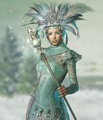 image of fairyland  - a snow queen with a lace dress and magic wand - JPG