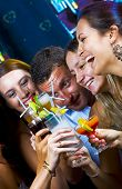 image of night-club  - Portrait of young attractive people having fun in night club - JPG