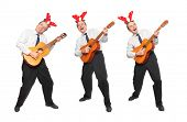 picture of hillbilly  - Crazy musicians in business suit with guitar singing - JPG