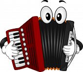 stock photo of accordion  - Mascot Illustration of an Accordion Pressing the Keys of its Keyboard - JPG
