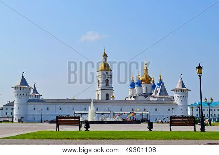 Walls towers a belltower and Sofia Uspensky a cathedral in the Tobolsk Kremlin