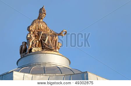 Minerva Ancient Statue On The Roof Of Imperial Academy Of Arts In St.petersburg. Was Built In 1764-1