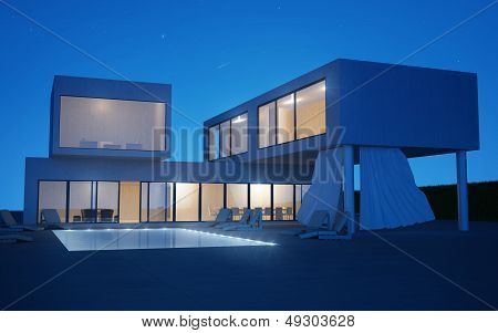Exterior Villa With Water Pool In Night Time