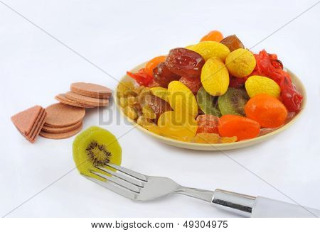Knives and forks and fruit tray
