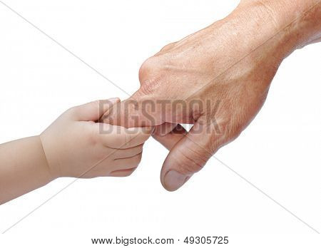 A child's hand holding an adult's finger