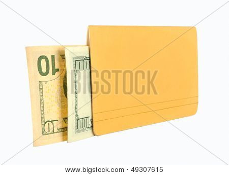 Passbook and money on a white background