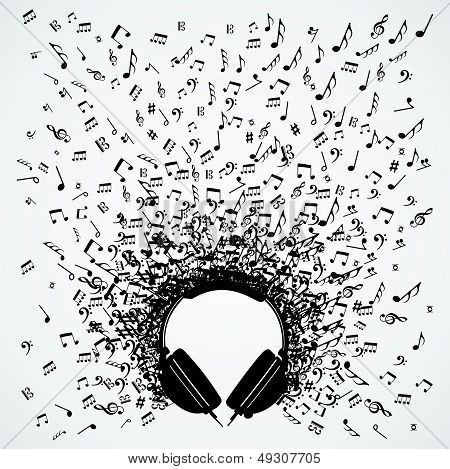 Music Notes From Headphones Isolated Design