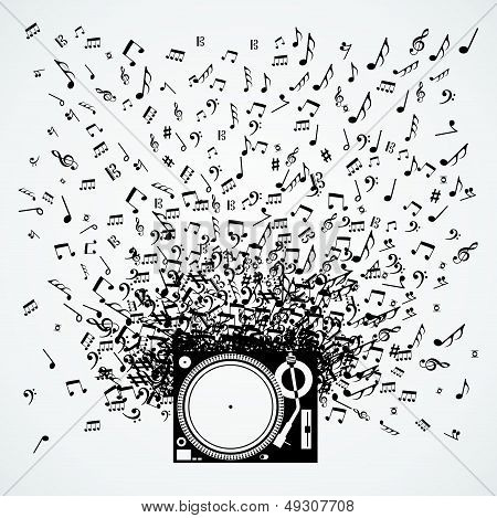 Music Notes From Turntable Isolated Design