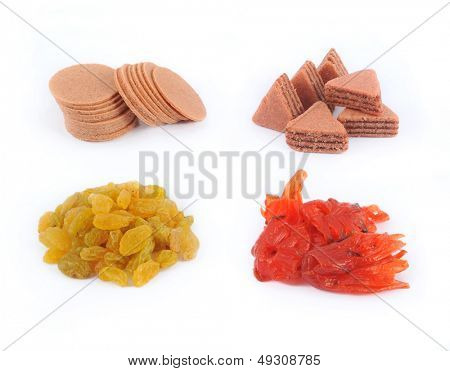 Dried fruits collection on white