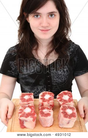 Teen Girl Holding Oxtails