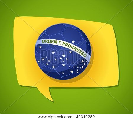 Brazil Flag Ball Social Media Bubble Shape Composition.