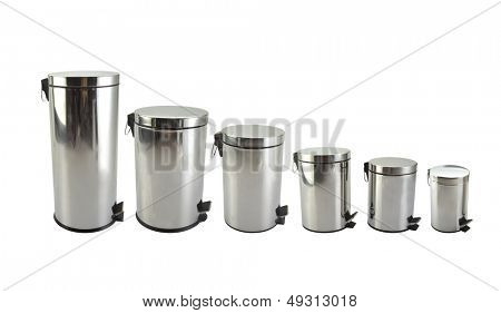 Different sizes trash cans in white background