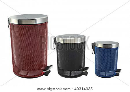 Three  trash cans in white background