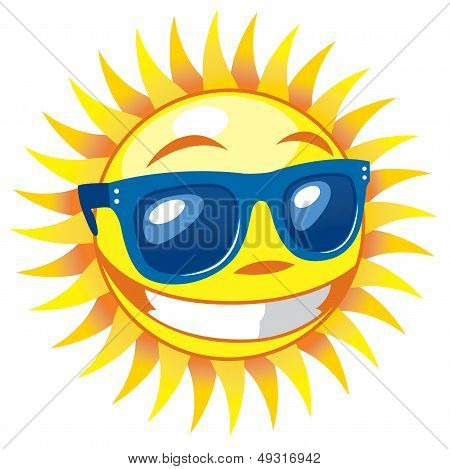 3d Smiling Sun wearing sunglasses