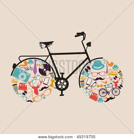 Vintage Hipsters Icons Bike.