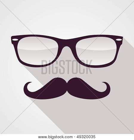 Vintage Hipster Face Geometric Pattern.