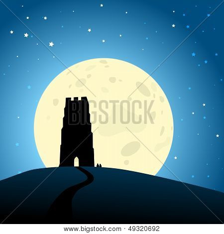Glastonbury Moonrise Eps10 Vector