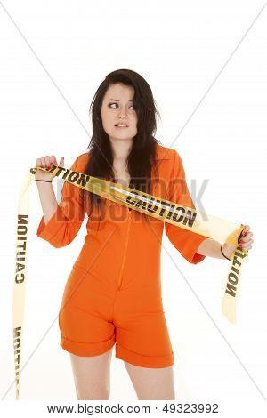 Woman Orange Prison Caution Look Side