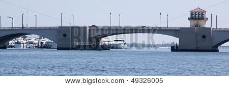 A panoramic view of the Flagler Memorial Bridge that crosses over the Intracoastal Waterway in Florida.