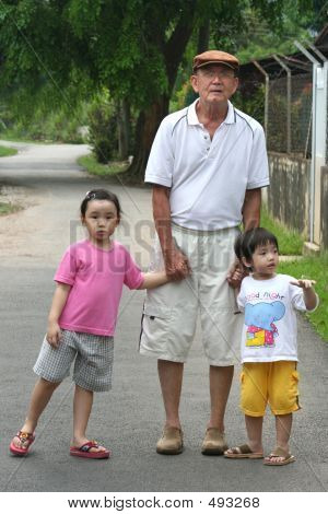Dad Grandfather Holding Kids