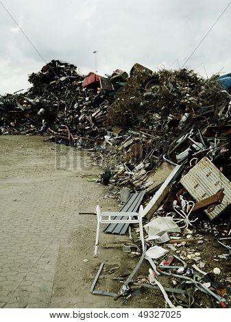 Piles of rubbish in scrapyard