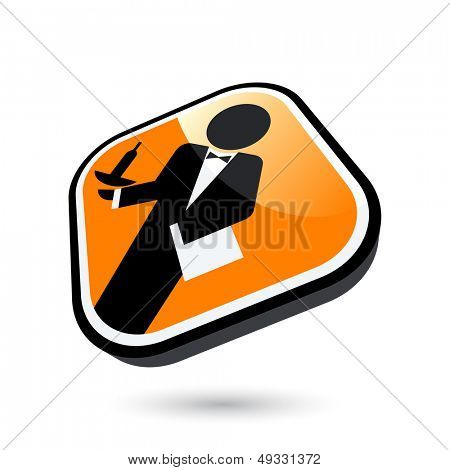 modern waiter sign