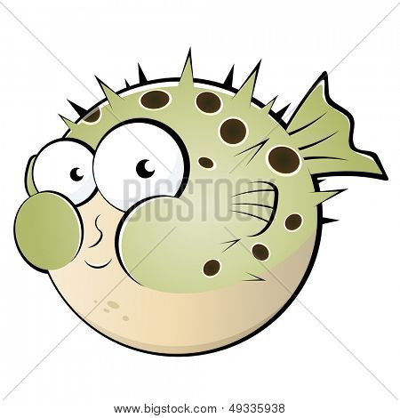 funny blowfish cartoon