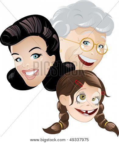 grandma mommy and daughter cartoon