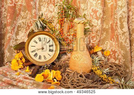 still life with clock, mushrooms and sea-buckethorn