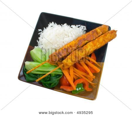 Chicken Satay Sticks With Vegetables