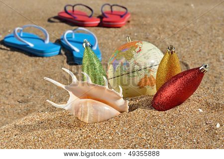 Christmas Decorations And Seashell