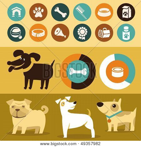 Vector Set Of Infographics Elements - Dogs