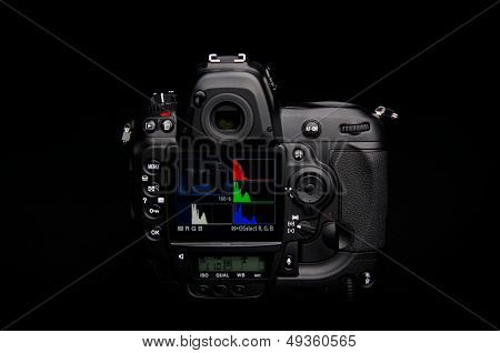 Professional digital photo camera on black background