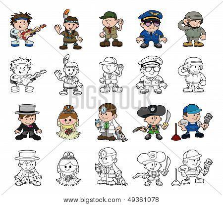 Cute Cartoon People Set