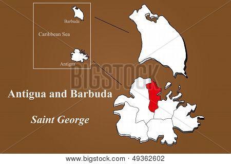 Antigua And Barbuda - Saint George Highlighted