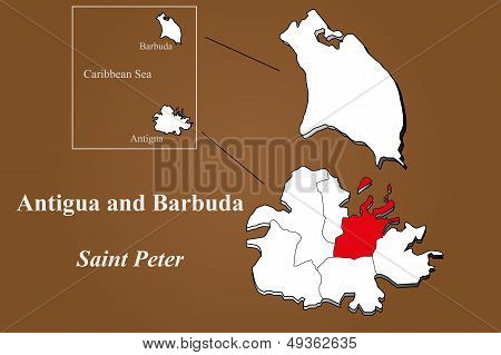 Antigua And Barbuda - Saint Peter Highlighted