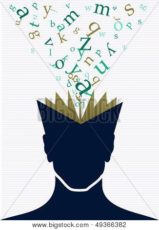 Human Head Book Words Concept.