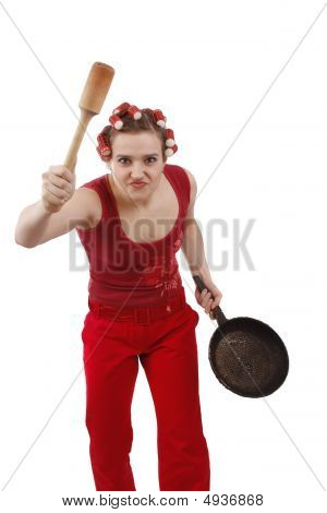 Angry Woman In Hair Rollers, Holding A Frying Pan.