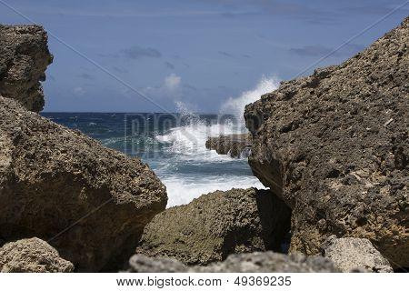 Volcano Rocks With Rough Ocaen