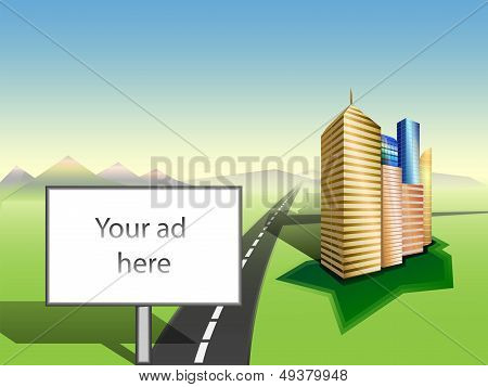 Copy Space On Billboard. Cityscape. Road. Mountains Skyline. Vector.