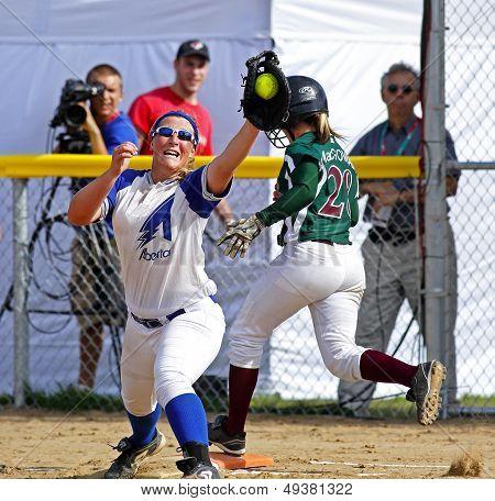 Canada Games Softball Women Catch Ball Runner