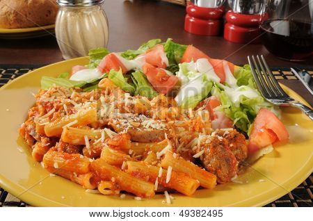 Rigatoni With Italian Sausage And Marinra Sauce