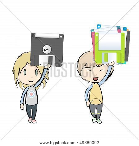 Kids Holding Diskettes. Vector Design
