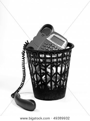 Wastepaper With Old-fashion Phone