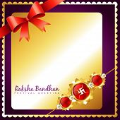 foto of rakhi  - shiny golden rakhi vector background with space for your text - JPG