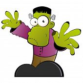 stock photo of frankenstein  - vintage frankenstein cartoon - JPG