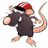 funny cartoon rat with helmet